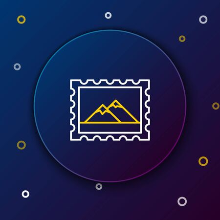 White and yellow line Postal stamp and Mountains icon isolated on dark blue background. Colorful outline concept. Vector Illustration
