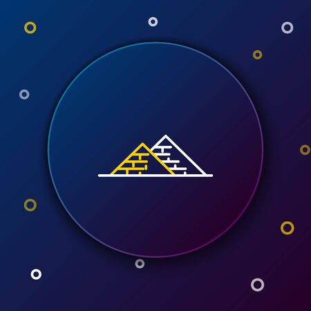White and yellow line Egypt pyramids icon isolated on dark blue background. Symbol of ancient Egypt. Colorful outline concept. Vector Illustration Stock Illustratie