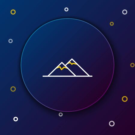 White and yellow line Mountains icon isolated on dark blue background. Symbol of victory or success concept. Colorful outline concept. Vector Illustration