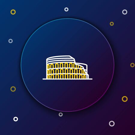 White and yellow line Coliseum in Rome, Italy icon isolated on dark blue background. Colosseum sign. Symbol of Ancient Rome, gladiator fights. Colorful outline concept. Vector Illustration