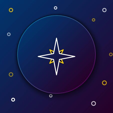 White and yellow line Wind rose icon isolated on dark blue background. Compass icon for travel. Navigation design. Colorful outline concept. Vector Illustration