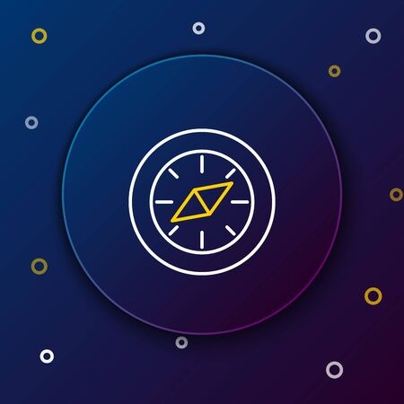 White and yellow line Compass icon isolated on dark blue background. Windrose navigation symbol. Wind rose sign. Colorful outline concept. Vector Illustration  イラスト・ベクター素材