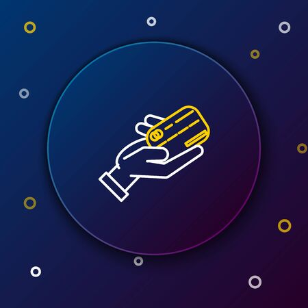 White and yellow line Human hand holding with credit card icon isolated on dark blue background. Online payment. Pay by card. Financial operations. Colorful outline concept. Vector Illustration