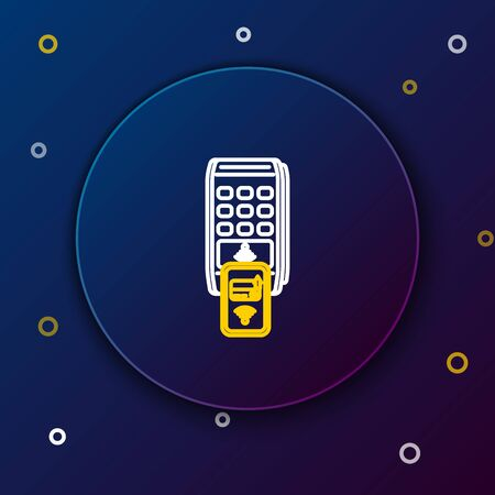 White and yellow line POS terminal with printed reciept and confirms the payment by smartphone icon isolated on dark blue background. NFC payment concept. Colorful outline concept. Vector Illustration
