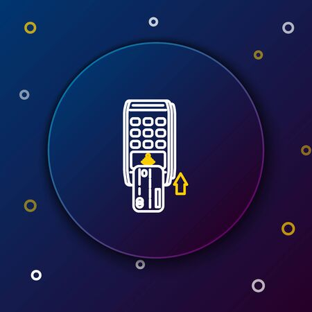 White and yellow line Pos terminal with inserted credit card icon isolated on dark blue background. Payment terminal transaction. Pay by card. Colorful outline concept. Vector Illustration