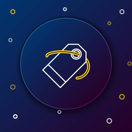 White and yellow line Blank label template price tag icon isolated on dark blue background. Empty shopping discount sticker. Template discount banner. Colorful outline concept. Vector Illustration Ilustração