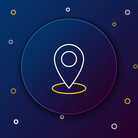 White and yellow line Map pin icon on dark blue background. Navigation, pointer, location, map, gps, direction, place, compass, contact, search concept. Colorful outline concept. Vector Illustration