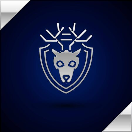 Silver Deer head with antlers on shield icon isolated on dark blue background. Hunting trophy on wall. Vector Illustration