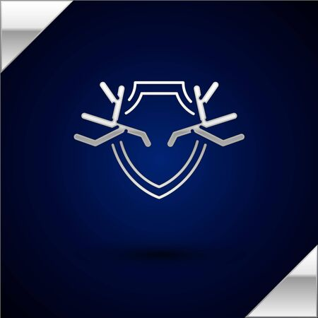 Silver Deer antlers on shield icon isolated on dark blue background. Hunting trophy on wall. Vector Illustration