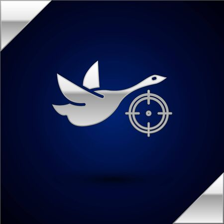 Silver Hunt on duck with crosshairs icon isolated on dark blue background. Hunting club  with duck and target. Rifle lens aiming a duck. Vector Illustration