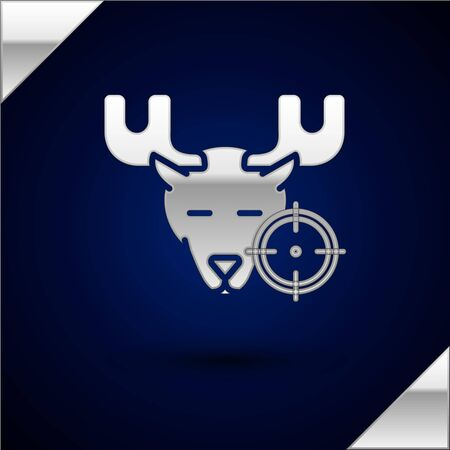 Silver Hunt on moose with crosshairs icon isolated on dark blue background. Hunting club with moose and target. Rifle lens aiming a moose. Vector Illustration
