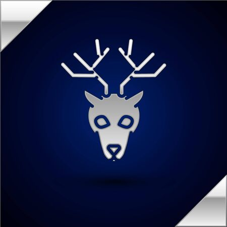 Silver Deer head with antlers icon isolated on dark blue background. Vector Illustration  イラスト・ベクター素材