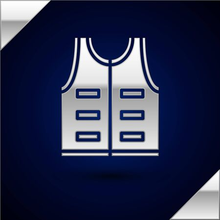 Silver Hunting jacket icon isolated on dark blue background. Hunting vest. Vector Illustration