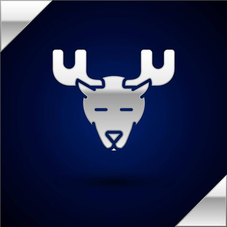 Silver Moose head with horns icon isolated on dark blue background. Vector Illustration