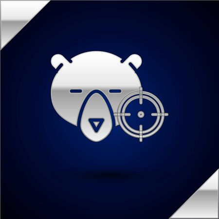 Silver Hunt on bear with crosshairs icon isolated on dark blue background. Hunting club with bear and target. Rifle lens aiming a bear. Vector Illustration
