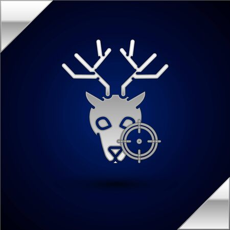 Silver Hunt on deer with crosshairs icon isolated on dark blue background. Hunting club  with deer and target. Rifle lens aiming a deer. Vector Illustration  イラスト・ベクター素材