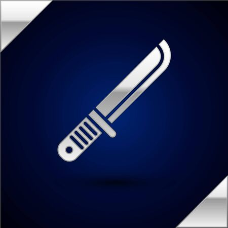 Silver Hunter knife icon isolated on dark blue background. Army knife. Vector Illustration Vector Illustratie