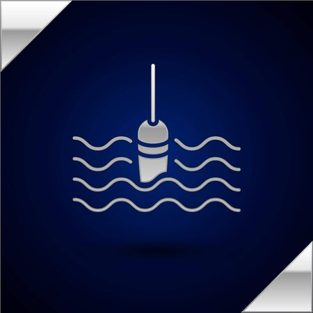 Silver Fishing float in water icon isolated on dark blue background. Fishing tackle. Vector Illustration