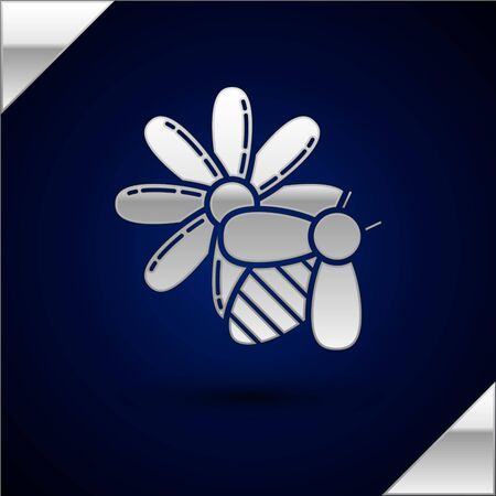 Silver Bee and flower icon isolated on dark blue background. Sweet natural food. Honeybee or apis with wings symbol. Flying insect. Vector Illustration Çizim