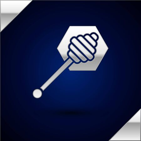Silver Honey dipper stick icon isolated on dark blue background. Honey ladle. Vector Illustration