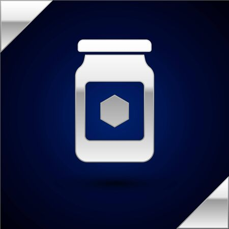 Silver Jar of honey icon isolated on dark blue background. Food bank. Sweet natural food symbol. Vector Illustration Illustration