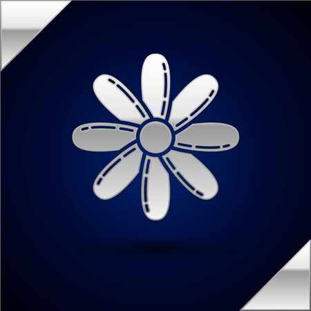 Silver Flower icon isolated on dark blue background. Sweet natural food. Vector Illustration