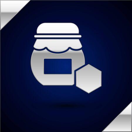 Silver Jar of honey icon isolated on dark blue background. Food bank. Sweet natural food symbol. Vector Illustration Çizim