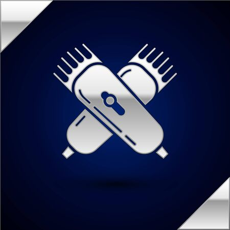 Silver Crossed electrical hair clipper or shaver icon isolated on dark blue background. Barbershop symbol. Vector Illustration Vektorové ilustrace