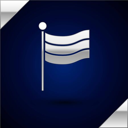 Silver National Germany flag icon isolated on dark blue background. Vector Illustration