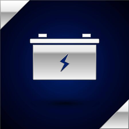 Silver Car battery icon isolated on dark blue background. Accumulator battery energy power and electricity accumulator battery. Vector Illustration