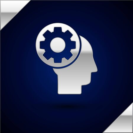 Silver Human head with gear inside icon isolated on dark blue background. Artificial intelligence. Thinking brain sign. Symbol work of brain. Vector Illustration Illustration