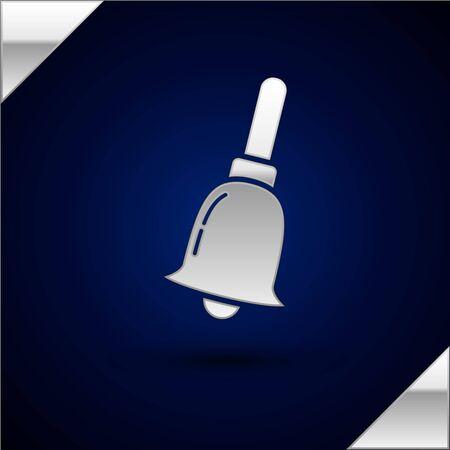 Silver Ringing bell icon isolated on dark blue background. Alarm symbol, service bell, handbell sign, notification symbol. Vector Illustration