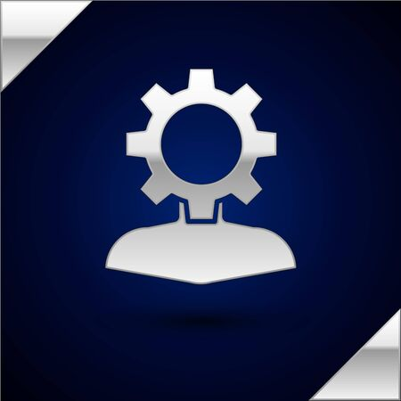 Silver Human with gear inside icon isolated on dark blue background. Artificial intelligence. Thinking brain sign. Symbol work of brain. Vector Illustration