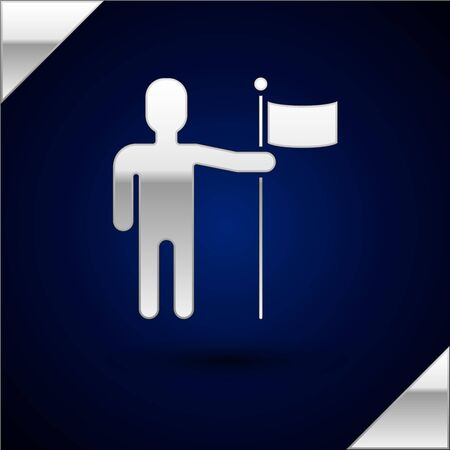 Silver Man holding flag icon isolated on dark blue background. Vector Illustration
