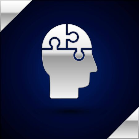 Silver Human head puzzles strategy icon isolated on dark blue background. Thinking brain sign. Symbol work of brain. Vector Illustration