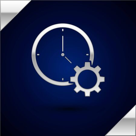Silver Time Management icon isolated on dark blue background. Clock and gear sign. Productivity symbol. Vector Illustration Banque d'images - 130448206