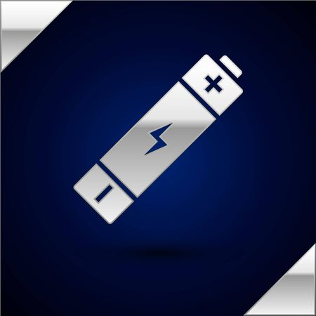 Silver Battery icon isolated on dark blue background. Lightning bolt symbol. Vector Illustration