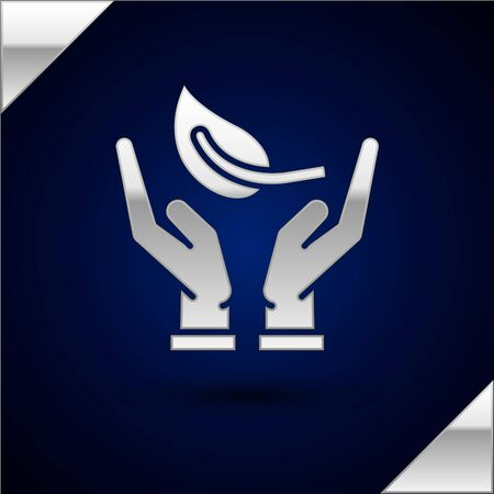 Silver Sprout in hand of environmental protection icon isolated on dark blue background. Seed and seedling. Planting sapling. Ecology concept. Vector Illustration