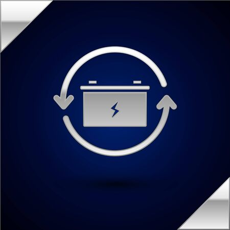 Silver Battery with recycle symbol line icon isolated on dark blue background. Battery with recycling symbol - renewable energy concept. Vector Illustration