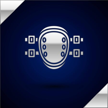 Silver Knee pads icon isolated on dark blue background. Extreme sport. Sport equipment. Skateboarding, bicycle, roller skating protective gear. Vector Illustration