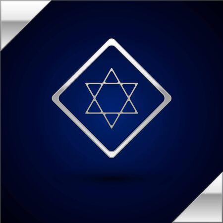 Silver Star of David icon isolated on dark blue background. Jewish religion symbol. Symbol of Israel. Vector Illustration