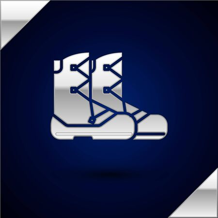 Silver Boots icon isolated on dark blue background. Vector Illustration
