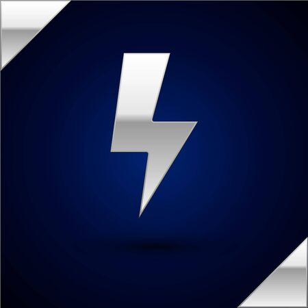 Silver Lightning bolt icon isolated on dark blue background. Flash sign. Charge flash icon. Thunder bolt. Lighting strike. Vector Illustration