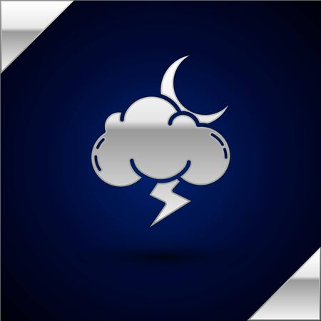 Silver Storm icon isolated on dark blue background. Cloud with lightning and moon sign. Weather icon of storm. Vector Illustration