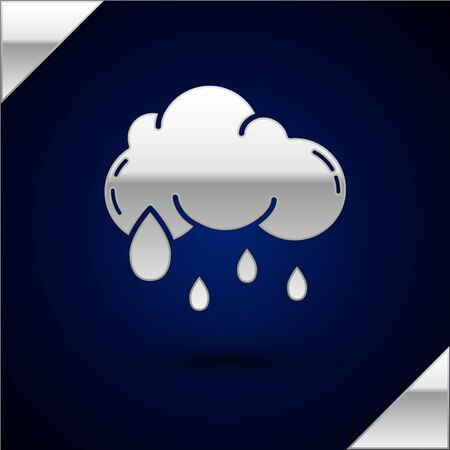 Silver Cloud with rain icon isolated on dark blue background. Rain cloud precipitation with rain drops. Vector Illustration Иллюстрация