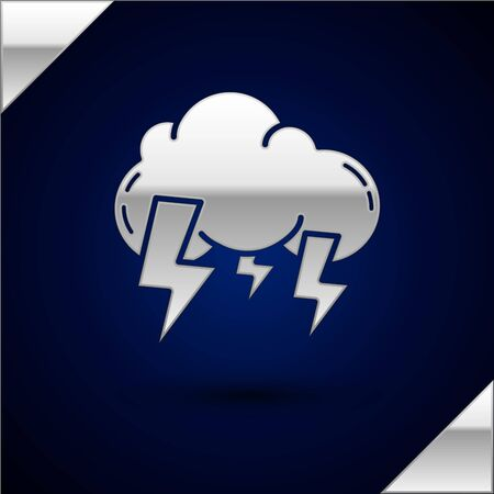 Silver Storm icon isolated on dark blue background. Cloud and lightning sign. Weather icon of storm. Vector Illustration
