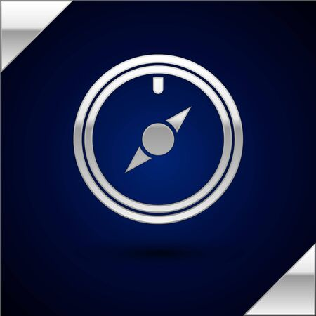 Silver Wind rose icon isolated on dark blue background. Compass icon for travel. Navigation design. Vector Illustration  イラスト・ベクター素材