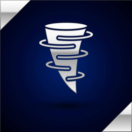 Silver Tornado icon isolated on dark blue background. Vector Illustration Illustration