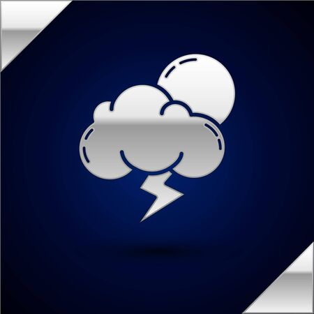 Silver Storm icon isolated on dark blue background. Cloud with lightning and sun sign. Weather icon of storm. Vector Illustration