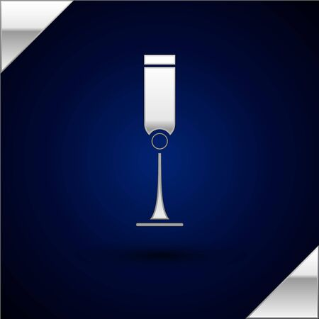 Silver Jewish goblet icon isolated on dark blue background. Jewish wine cup for kiddush. Kiddush cup for Shabbat. Vector Illustration Illustration